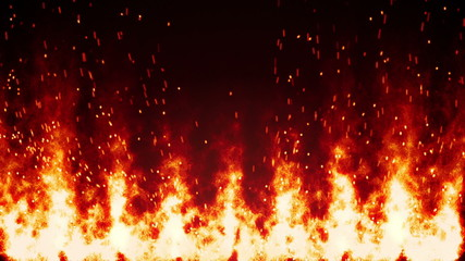 flaming fire wall and sparks loopable background