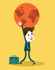 Businessman holding big globe. Big burden concept. vector
