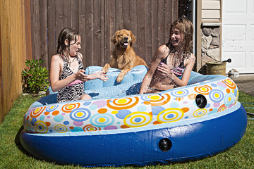 Kids playing in a pool