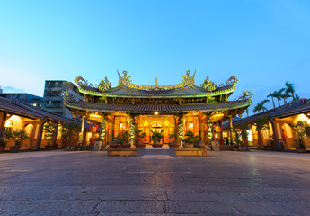 night view of a Chinese temple in Taipei, Taiwan