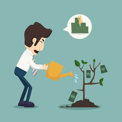 Businessman watering a plant of money