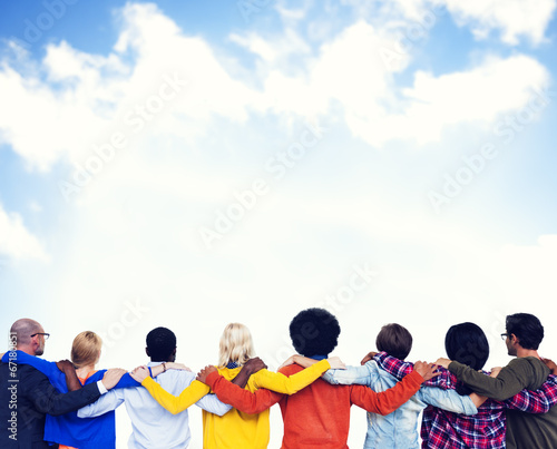 Group of People in Backward and the View of Clear Sky