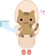 洋式トイレに座る猫