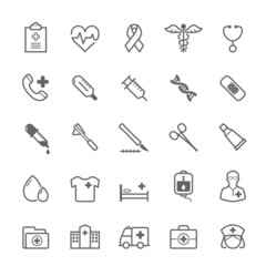 Set of Outline stroke Medical icon set 1