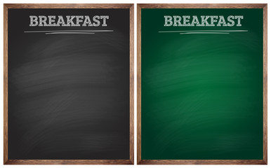 isolated breakfast black and green blackboards or chalkboards