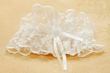 White wedding garter for the bride