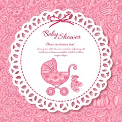 Baby shower, greeting card for baby girl