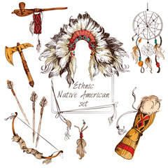 Ethnic native american set colored