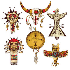 Ethnic american totems colored set