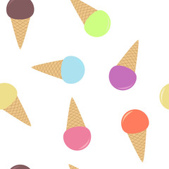 Seamless pattern from multi-colored ice cream