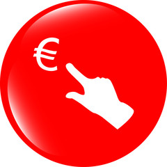 Currency exchange icons, euro money sign and people hand