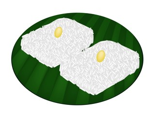 Thai Sweet Sticky Rice on Banana Leaf