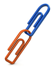 Blue and orange paper clips