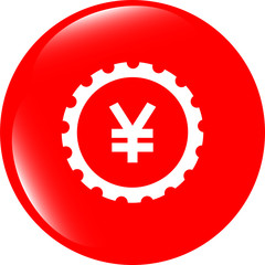 gear (cog) web icon on cloud with yen money sign