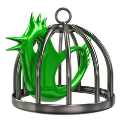 Green bird in a silver cage