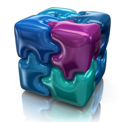Illustration of blue puzzle cube