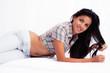 beautiful girl of tropical skin and pose sensual