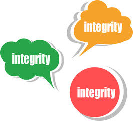 integrity. Set of stickers, labels, tags. Business banners