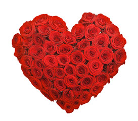 Red rose flower bouquet heart shape