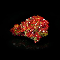 Texture of gem, red crystal Garnet