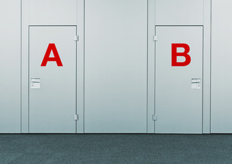 Closed doors with A and B marks