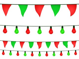 Red and green garlands