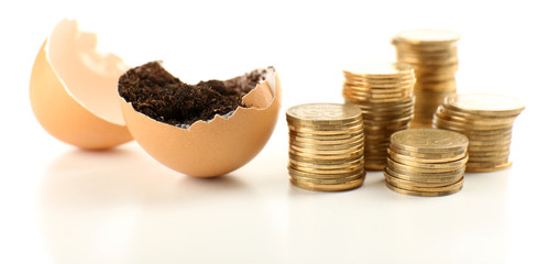 Coins and eggshell with soil isolated on white