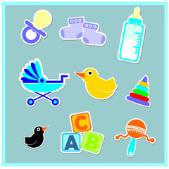 collection of baby toys and equipment
