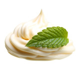 Cream with green mint leaf