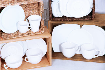 Beautiful shelves and boxes with tableware