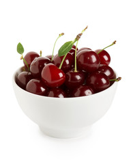 Sweet ripe cherry in bowl