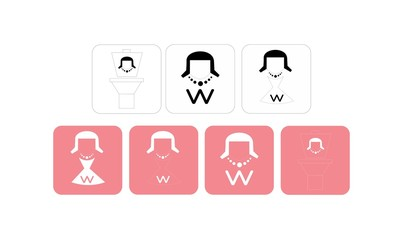 Woman restroom icon set