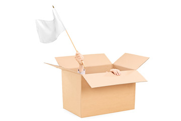 Man waving a white flag hidden in a carton box