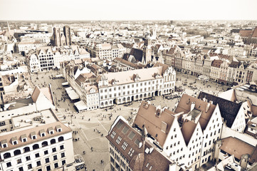 Town square of Wroclaw in vintage style, Poland