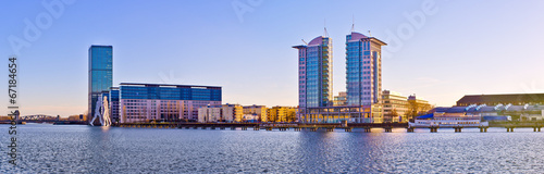 canvas print picture Modern buildings near Spree river in Berlin, Germany