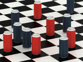 Drink cans on a checker board