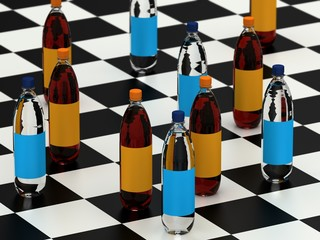 Drink bottles on checker board