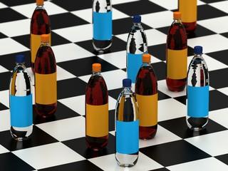 Drink bottles on checker board