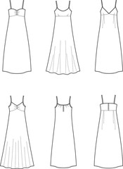 Vector illustration of women's dresses