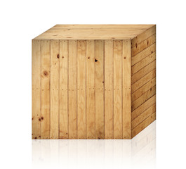Wooden box isolated with clipping path.