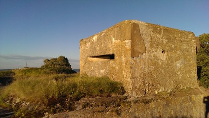 Old concrete fort WWII on Totleben island in Gulf of Finland