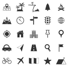 Location icons on white background