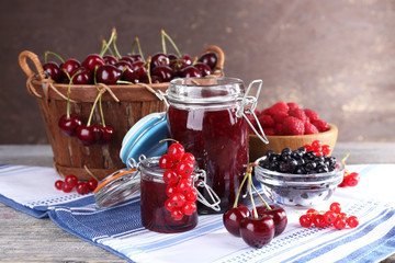 Berries jam in glass jar on table, close-up