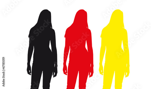 Weibliche Silhouetten in schwarz rot gold