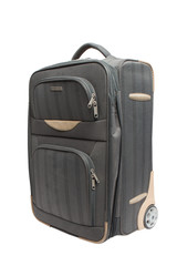 gray suitcase with combination lock isolate on white background