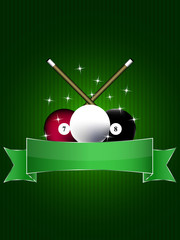 Billiard background with balls, stars and green label