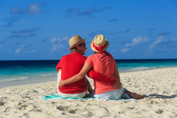 romantic couple on sand beach vacation