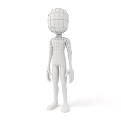 3d man posing on white background showing the geometry edges