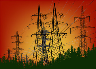 electric towers group in forest at sunset