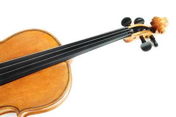Violin musical instruments on white
